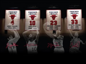 bulls retired numbers